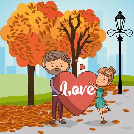 couple in love on park vector illustration design Ilustração