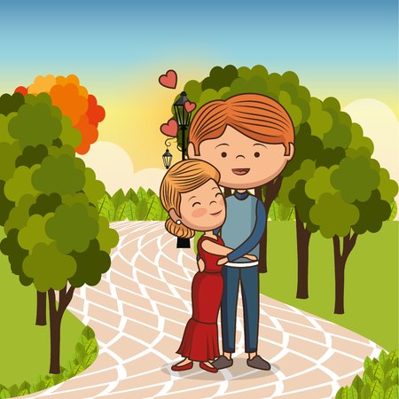 couple in love on park vector illustration design Illustration