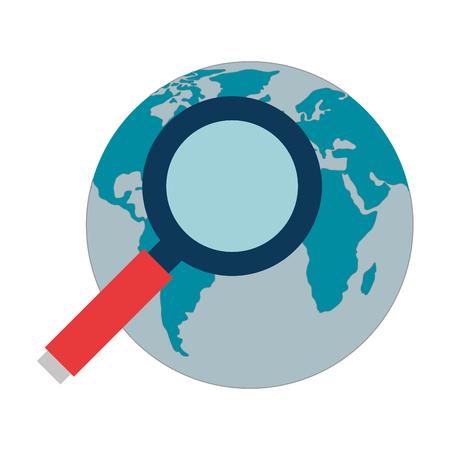 zoek vergrootglas met vector de illustratieontwerp van de wereldplaneet
