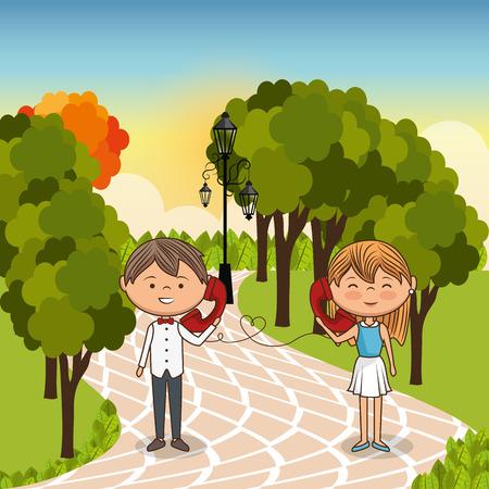 couple in love on park vector illustration design Illustration