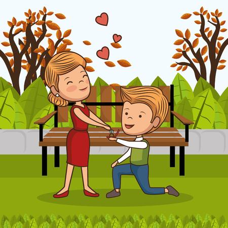 couple in love on park chair vector illustration design Illusztráció