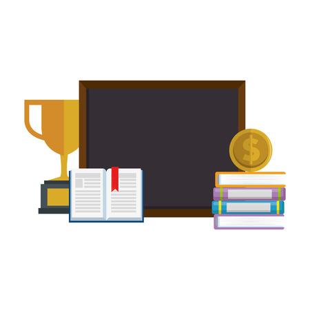 pile text books with chalkboard and trophy vector illustration design Ilustração
