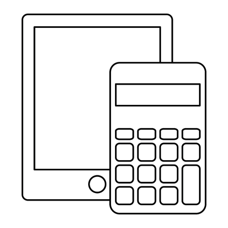 calculator math with tablet vector illustration design