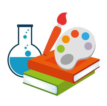 text books with paint pallette and tube test vector illustration design