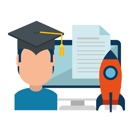student graduated with computer and rocket vector illustration design