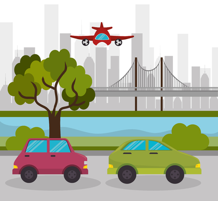 two car urban highway airplane design vector illustration eps 10