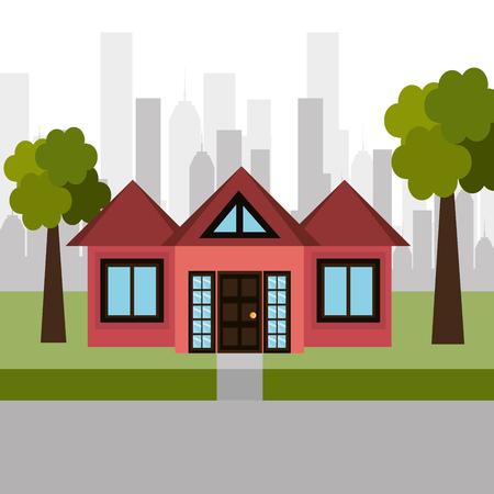 house sweet landscape city vector illustration eps 10