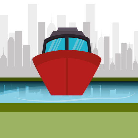 boat marine cityscape graphic vector illustration eps 10 Illustration