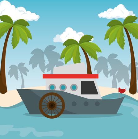 boat transport beach sea vector illustration eps 10