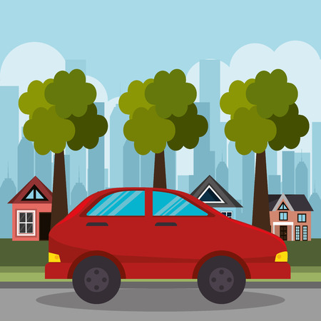 red car suburb houses and tree vector illustration