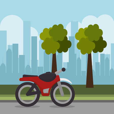red motorcycle transport city urban landscape vector illustration eps 10 Banco de Imagens - 111676197