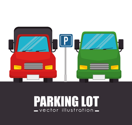 parking lot cars graphic vector illustration
