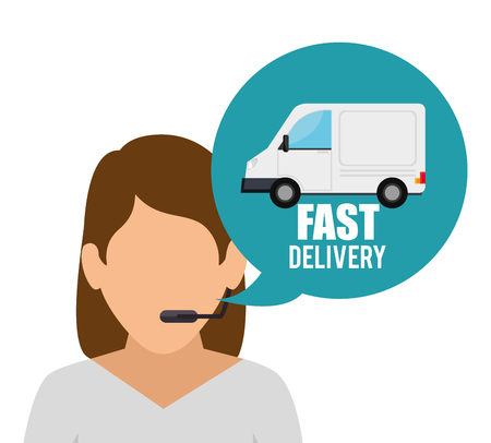 fast delivery character service vector illustration