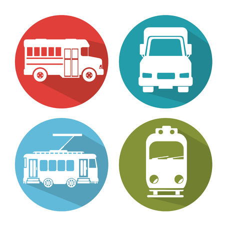 differents transport vehicle icons vector illustration