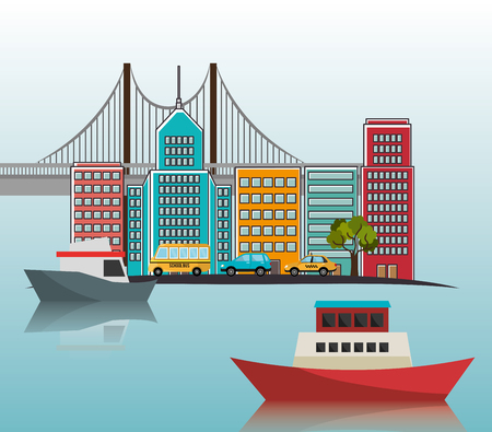 boats port cityscape bridge vector illustration eps 10
