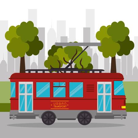 trasporto tranviario servizio retrò urbano illustrazione vettoriale eps 10 Vettoriali