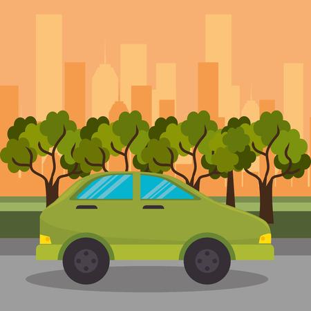 green car road street city vector illustration eps 10  イラスト・ベクター素材