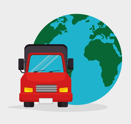 truck transport globel worldwide vector illustration