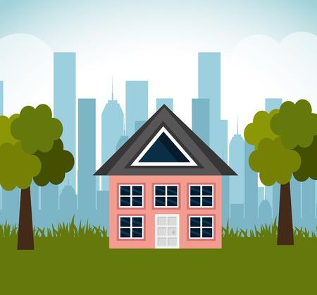 lovely house family suburb landscape vector illustration eps 10 Illustration