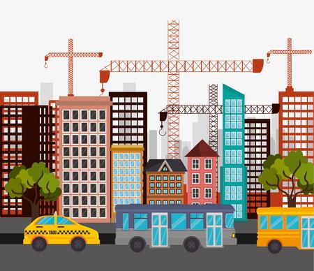 cab bus city street crane construction design vector illustration eps 10
