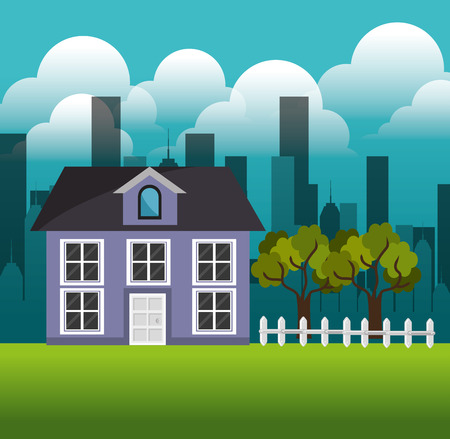 lovely house family suburb landscape vector illustration eps 10 Stock Illustratie
