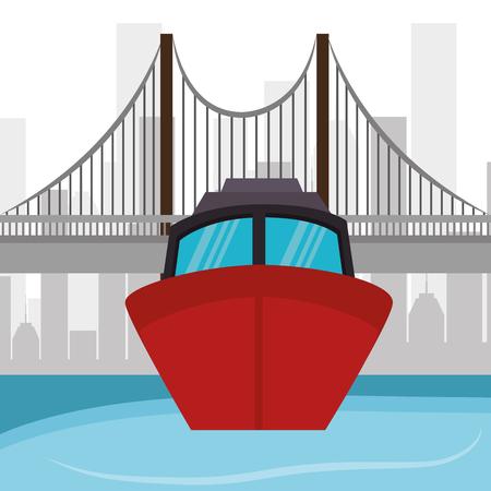 ship boat river bridge and city vector illustration eps 10