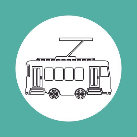vintage tram way transport vector illustration eps 10