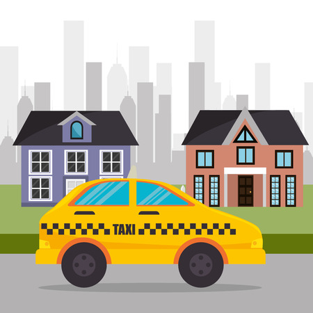 suburban cab service town design vector illustration