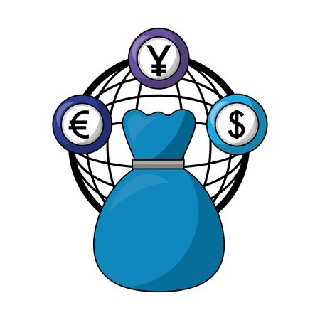 dollar euro and yen business with money bag vector illustration design Illusztráció