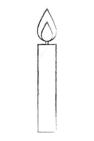 burning candle flame hot decoration vector illustration hand drawing