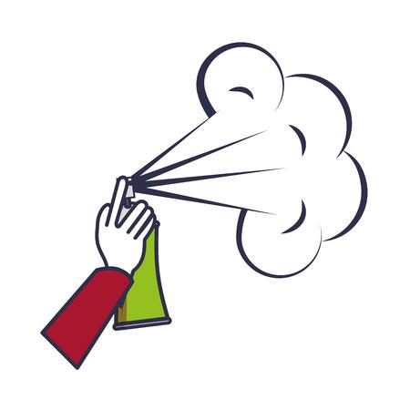 main avec la conception d & # 39; illustration vectorielle bouteille de peinture en aérosol Vecteurs