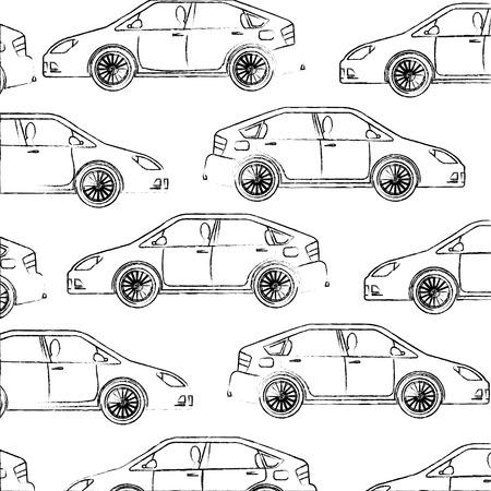 vehicle car motor transport pattern design vector illustration hand drawing