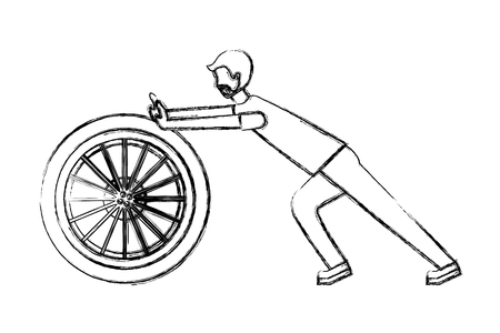 beard man pushing car wheel repair vector illustration hand drawing