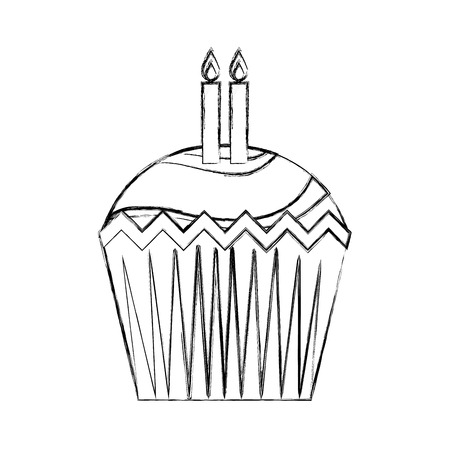 happy birthday cupcake with candles celebration vector illustration hand drawing Ilustração