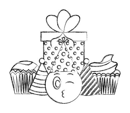 birthday emoji face cupcake party hat gift celebration vector illustration hand drawing Çizim