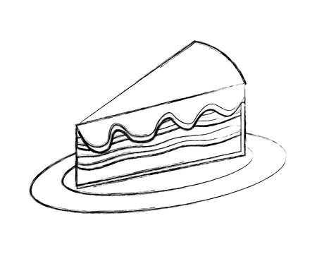 sweet piece cake on dish food dessert vector illustration hand drawing