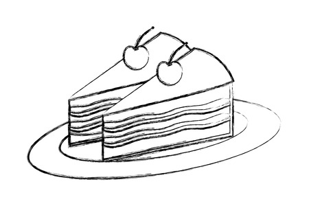 delicious pieces cake with cherries fruit on dish vector illustration hand drawing Illustration