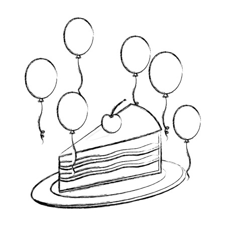 birthday piece cake with cherry and balloons decoration vector illustration hand drawing Ilustrace