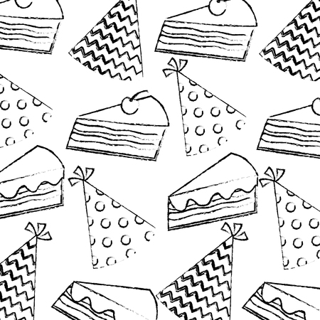 birthday piece cake cherry and party hat pattern vector illustration hand drawing