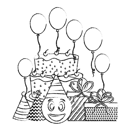 birthday cake emoticon face gifts balloons and party hats vector illustration hand drawing Illustration