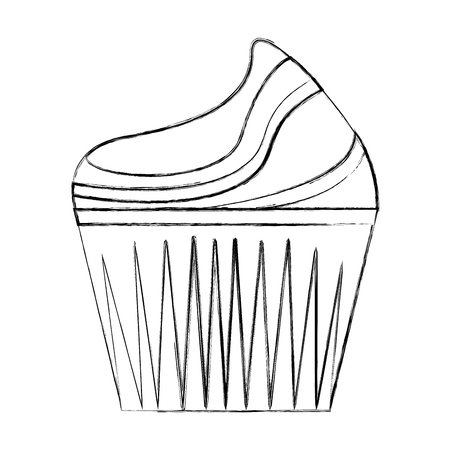 sweet cupcake cream delicious pastry vector illustration hand drawing
