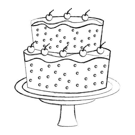 sweet cake glazed fruits cream food vector illustration hand drawing