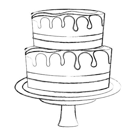 sweet cake glazed cream food vector illustration hand drawing Illustration