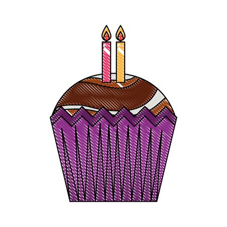 happy birthday cupcake with candles celebration vector illustration drawing color