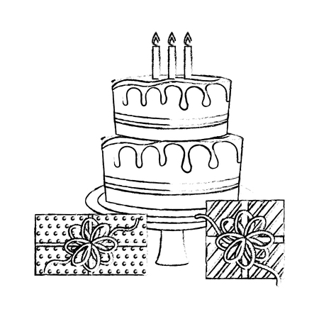 birthday big cake with candles and gift boxes celebration vector illustration hand drawing Ilustrace