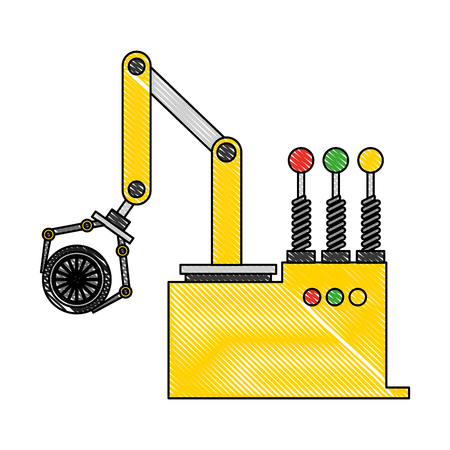 robot arm for automotive engineering with car wheel vector illustration   drawing color