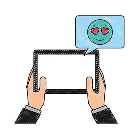 hands with tablet mobile chatting love emoji vector illustration