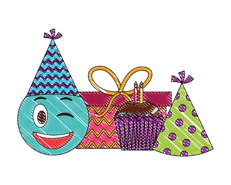 birthday emoji face cupcake gift and party hat vector illustration drawing color Ilustracja