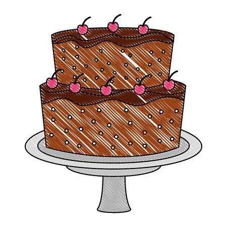 sweet cake glazed fruits cream food vector illustration drawing color
