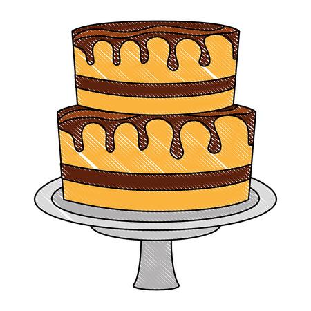 sweet cake glazed cream food vector illustration drawing color